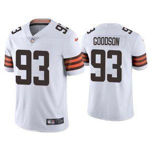 Browns Donovan B.J. Goodson White Jersey